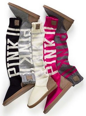 209dc385dfc A pair of slouchy home boots from Victoria s Secret PINK collection ...
