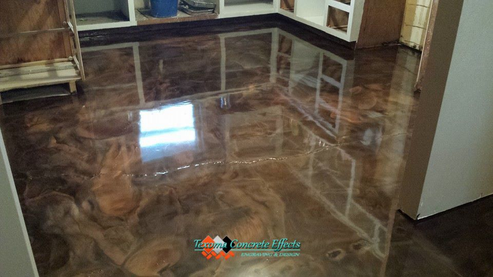 Metallic Epoxy Kitchen Floor Tri Color By Texoma Concrete