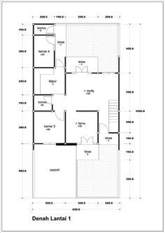 denah rumah minimalis 2 lantai luas 125m2 3 kamar tidur