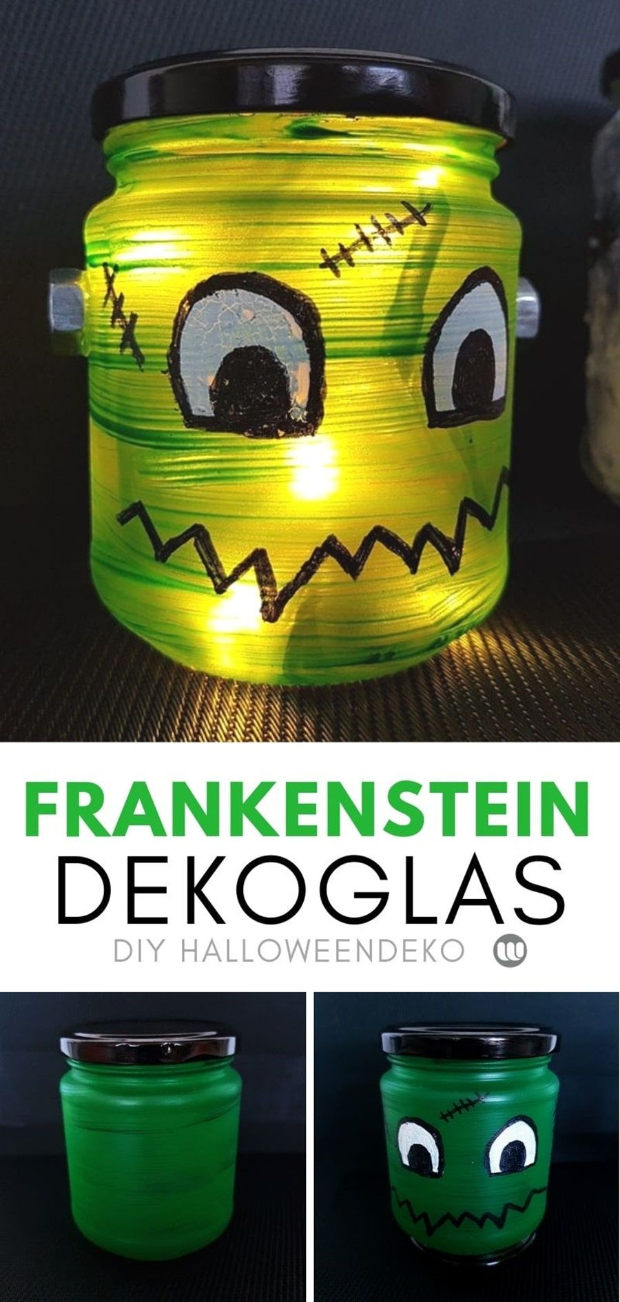 Photo of Halloween Deko basteln: Frankensteins Monster Windlicht