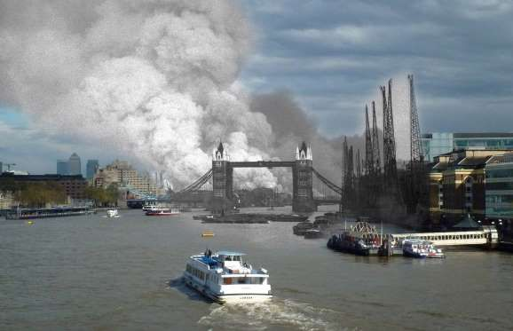 In this digital composite image a comparison has been made between a London scene during the Blitz o... - Keystone/ Hulton Archive / Getty — Jim Dyson / Getty