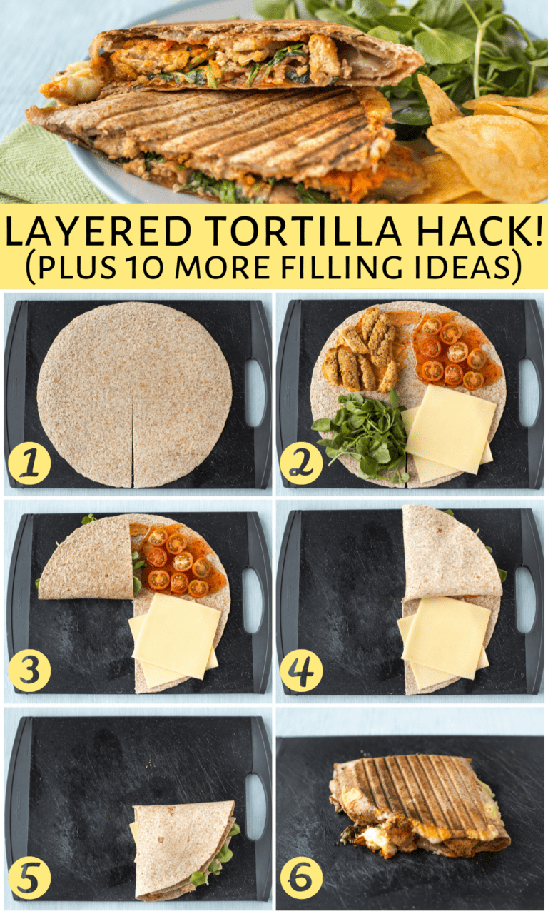 Layered Tortilla Hack This Has Been Going Viral On Tiktok As It S Such An Easy Way To Make A Delicious Lunch With Any Number Of In 2021 Recipes Food Cooking Recipes