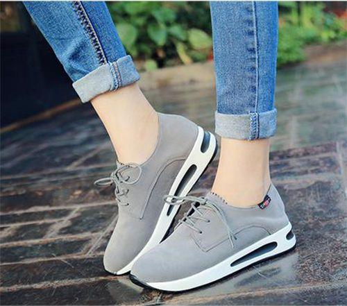 Korean Womens Canvas Platform Slip On Pump Stylish Sneakers Wedge Heel Shoes Sz