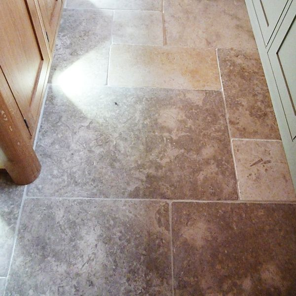 Grey limestone floor tiles installed. Warm and country style. #Floor ...
