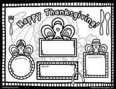 FREE Thanksgiving Coloring Placemat | thanksgiving | Pinterest ...