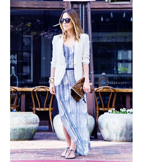 Maxi Dress Blazer Via Whowhatwear