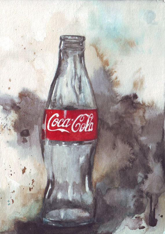 Coke Glass Bottle #Watercolor #Illustration
