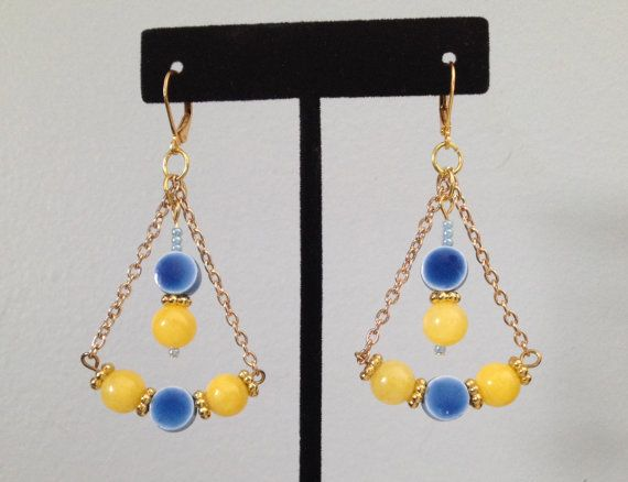 Blue & Lemon Yellow Egyptian Style Earrings by MonicaWilgaDesigns, $8.75