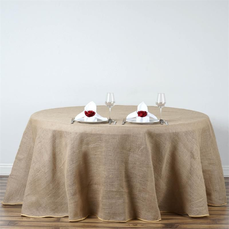 120 Natural Tone Premium Chambury Ruffled Burlap Round Tablecloth