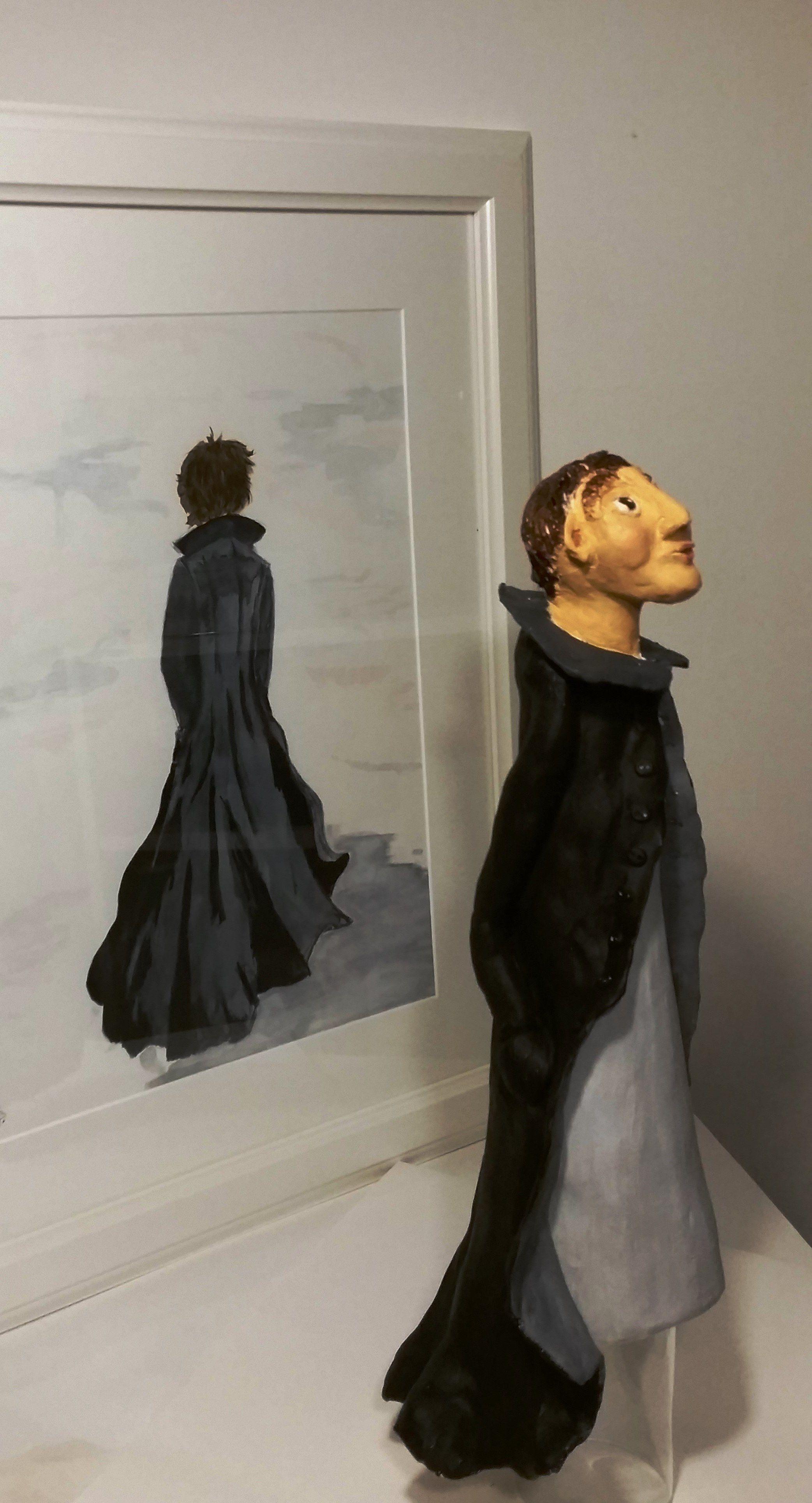 De Zwarte Jas keramiek/aquarel