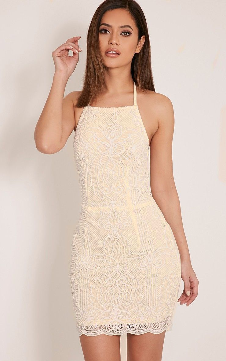 Sassia White Halterneck Strappy Back Lace Dress Image 1