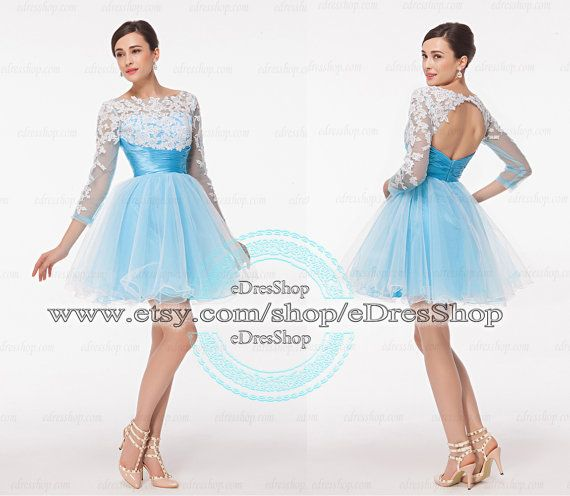 Blue Lace Backless short prom dress, prom dress with Long Sleeves ...