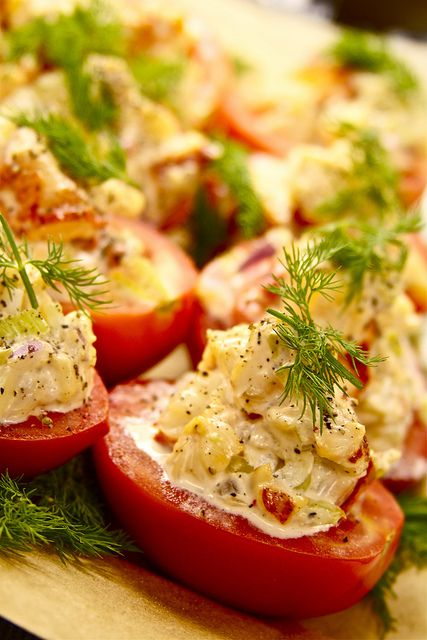 Lobster Salad Stuffed Tomatoes  http://www.facebook.com/TheWoodenSpoon