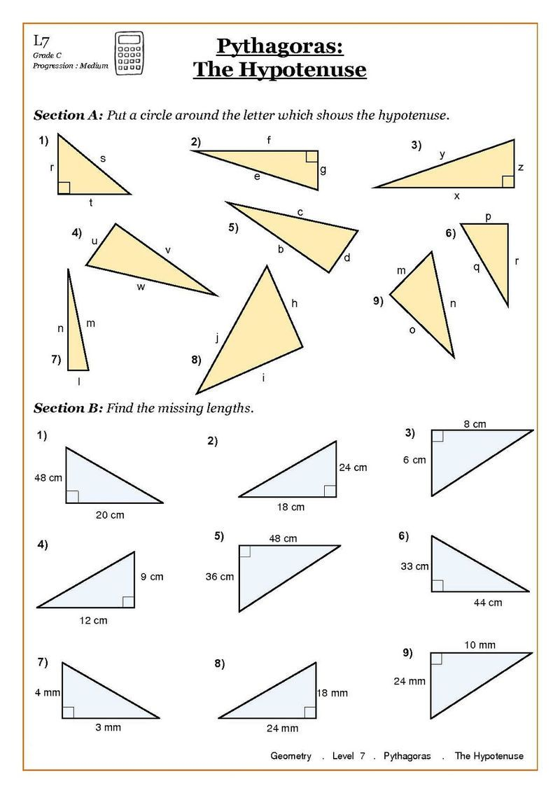 Primary 4 Maths Worksheets Geometry Teorema Pythagoras Lembar Kerja Matematika Matematika