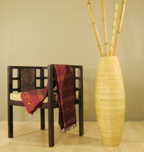 36 Inch Tall Cylinder Bamboo Floor Vase Branches Not Included
