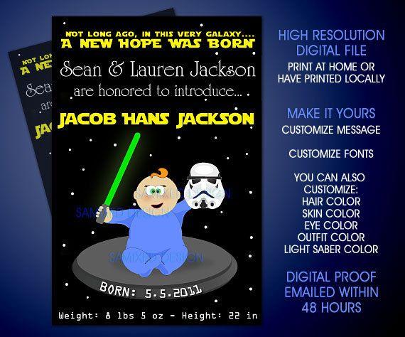 DIY Star Wars Theme Custom Baby Shower Invitation Or Birth Announcement    Digital File. $15.00, Via Etsy.