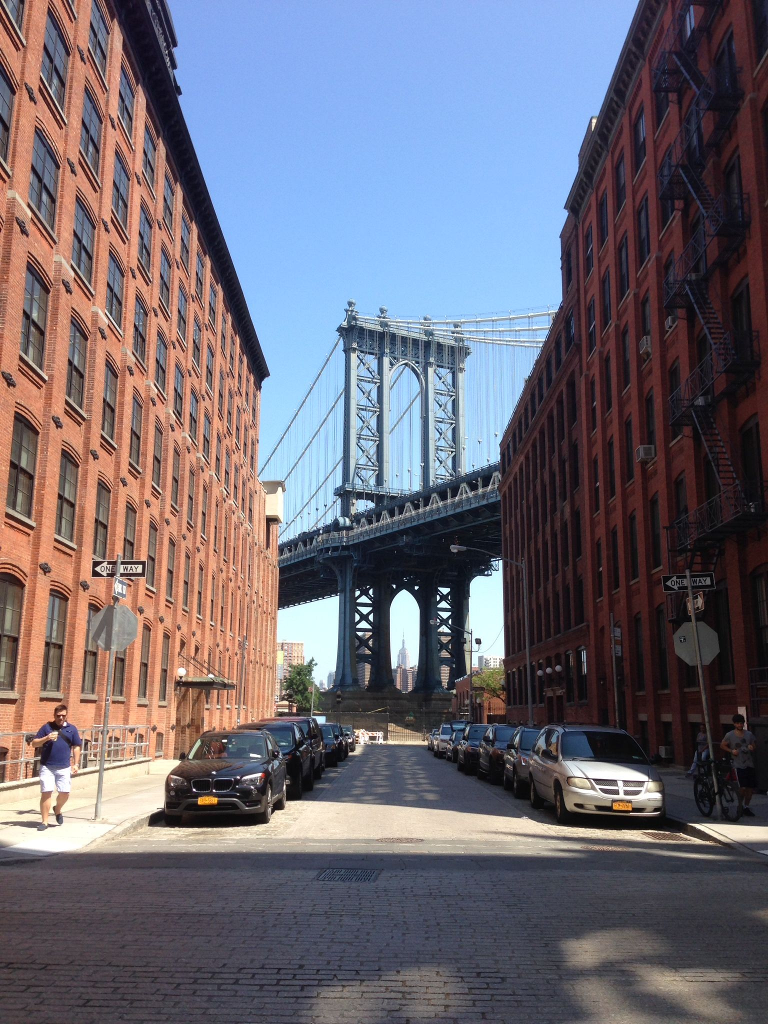 Brooklyn Bridge framing the Empire State Building, July 2014, NYC ...