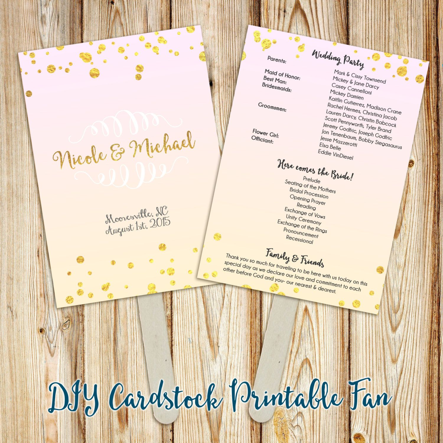 Printable Wedding Program Fan or Doublesided Program Fan Faux Gold