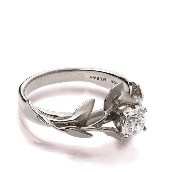 Leaves Engagement Ring No.4 - 18K White Gold and Diamond engagement ring, engagement ring, leaf ring, filigree, antique, art nouveau,vintage