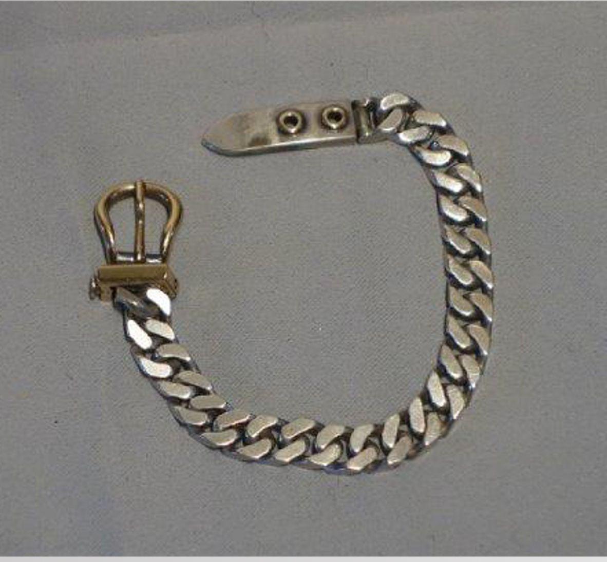 HERMES, bracelet ceinture en argent, maillons gourmettes, boucle en or,  signé. c5550d8a27d