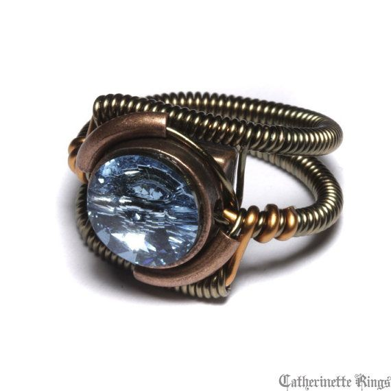 Steampunk Jewelry - Ring - Aquamarine Blue Swarovski Crystal - March
