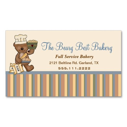 Cute teddy bear chef bakery business card bakery business cards cute teddy bear chef bakery business card make your own business card with this great design all you need is to add your info to this template reheart Choice Image