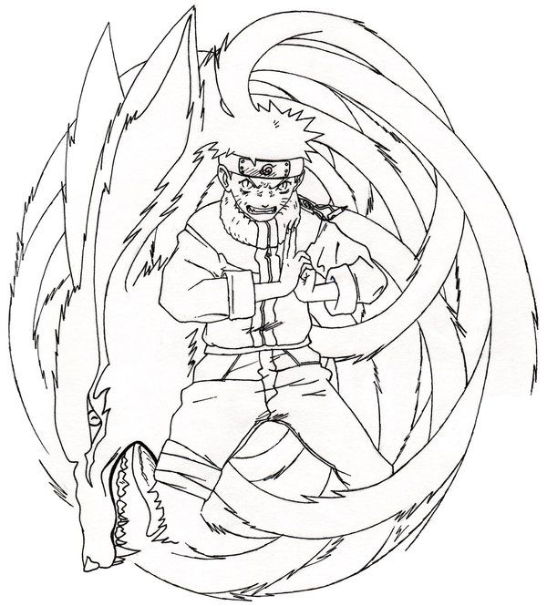 Naruto Nine Tailed Fox Coloring Pages Naruto Printable Free