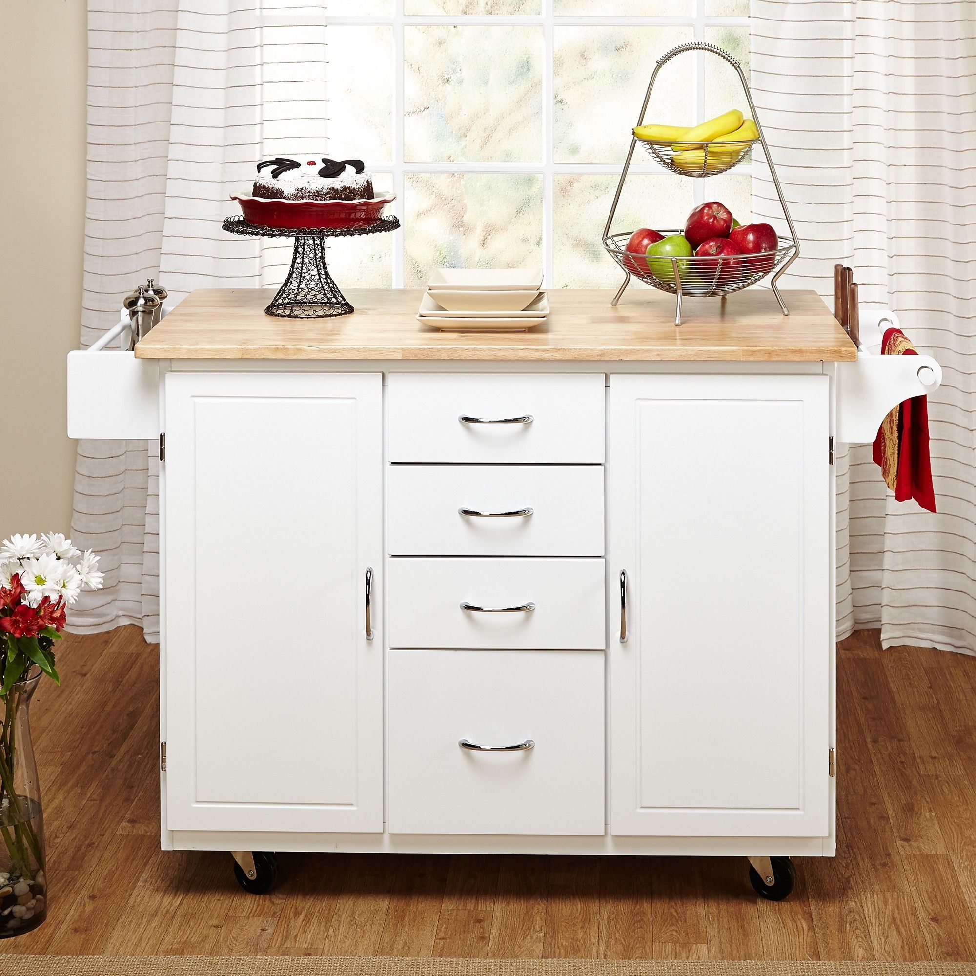 Give yourself an extra storage space with this charming country cottage kitchen cart set on
