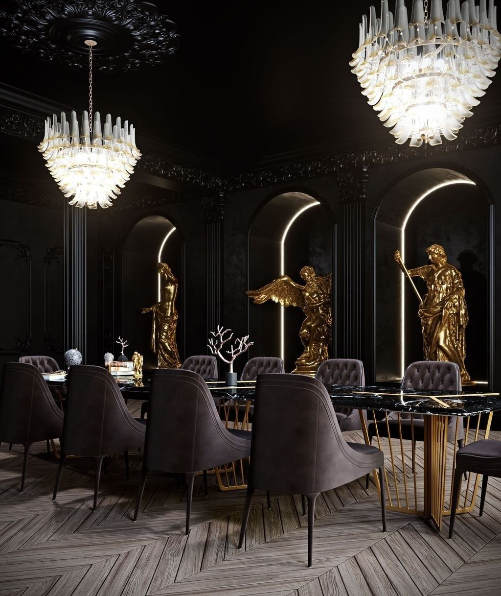 Casual Dining Rooms Decorating Ideas For A Soothing Interior: Casual Black And Gold Dining Room Design Ideas For