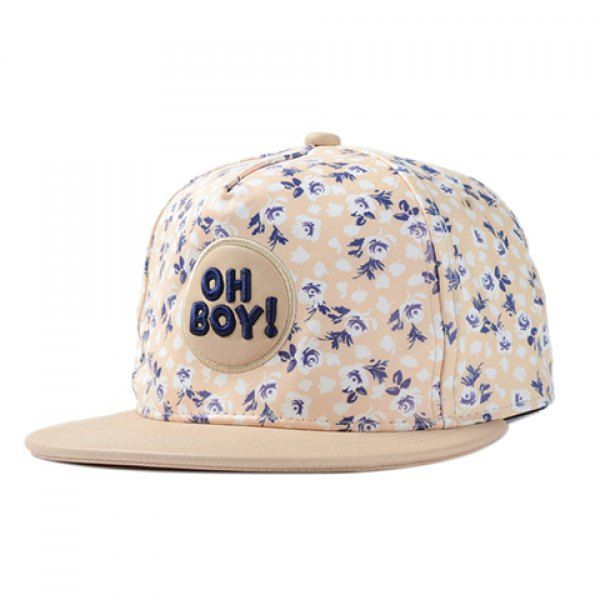 Chic Capital Letters Embroidery Tiny Floral Print PU Baseball Cap For Women