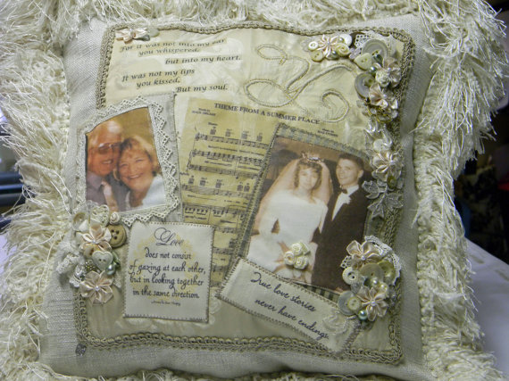 50th Wedding Anniversary Gift Pillows: Vintage Anniversary Photo Memory Pillow By DawnsGardenGate