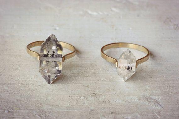 Herkimer diamantring gouden vulling Ring Boho Wedding door lumafina