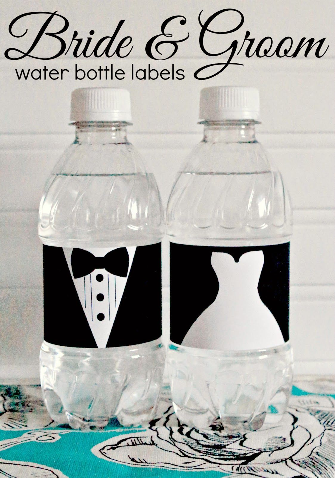 free printable bride and groom wedding water bottle labels perfect for wedding welcome bags and
