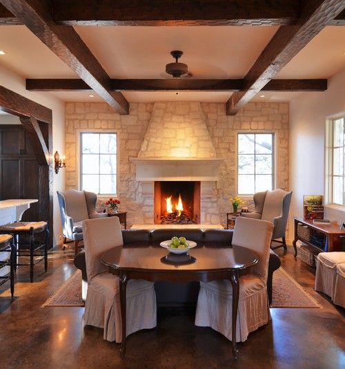 Living Room Sofa And Dining Room Table Wood Beams