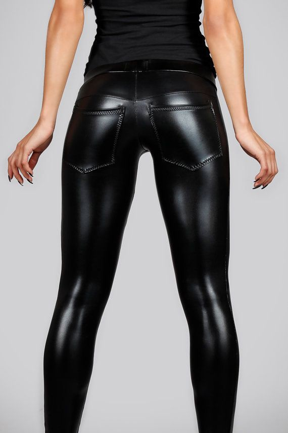 151dbbf226f47 Shiny Leggings, Tight Leggings, Leather Fashion, Metal Fashion, Spandex  Pants,