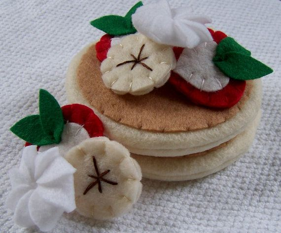 Felt Play Food  Strawberry and Banana Pancakes by LittleBugMarket