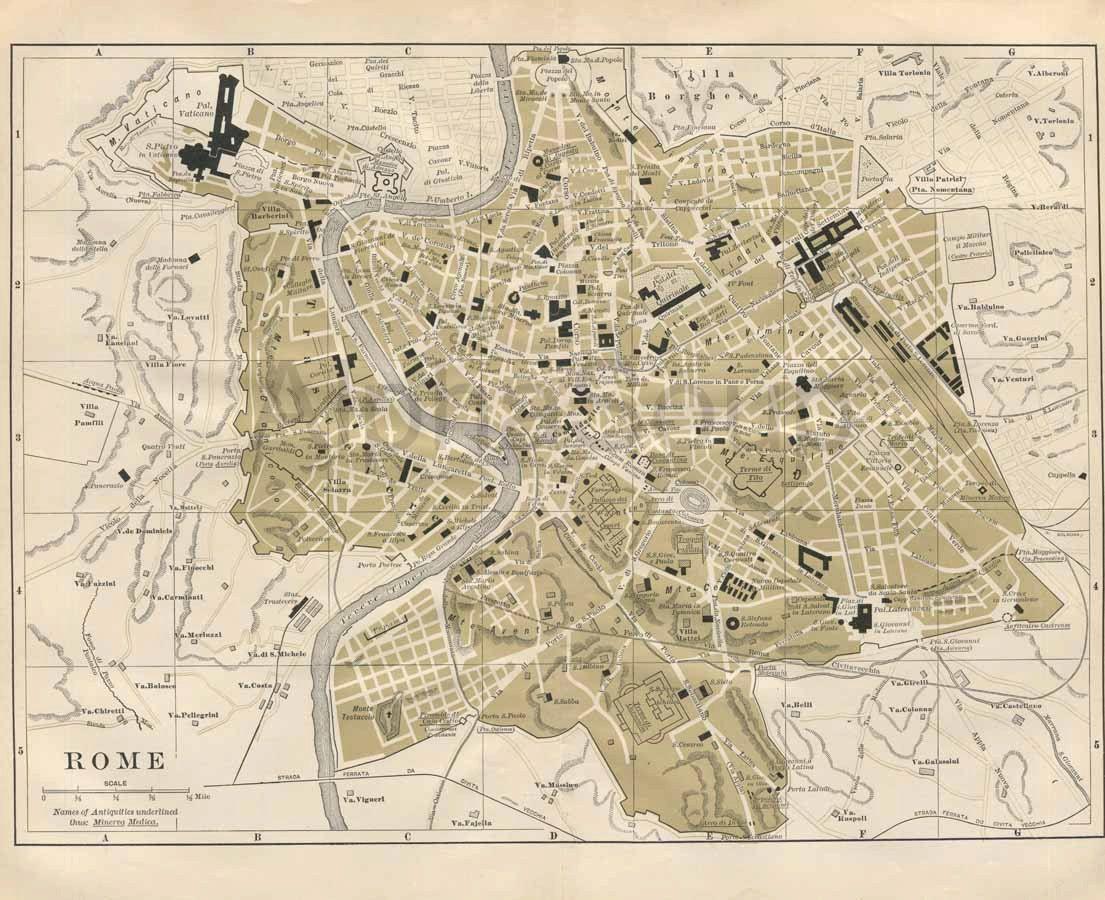 Ancient Rome Late 1800 S Antique Color Map Original Print