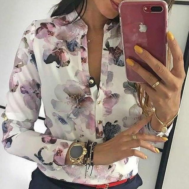 abc41e3a362f1 The Lovely Floral Print Button Up Top pairs perfectly with wide-leg pants!  Silky