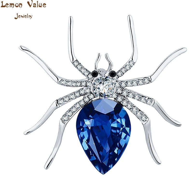 Lemon valore fascini di modo del rhinestone del ragno spilla vintage punk blu cristallo spilla pins donne nozze gioielli regalo tp021