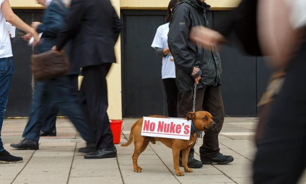 Delegates walk past an anti-nuclear campaigner and his dog as they arrive for the second day of the Labour Party Annual Conference in Bright...