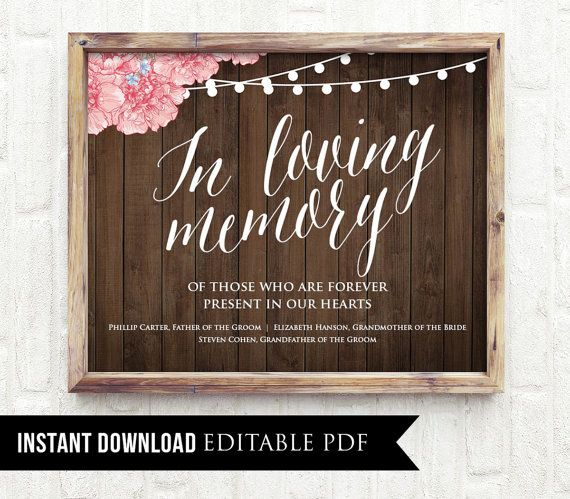 In Loving Memory Wedding Sign Editable By Mintypaperieshop On Etsy