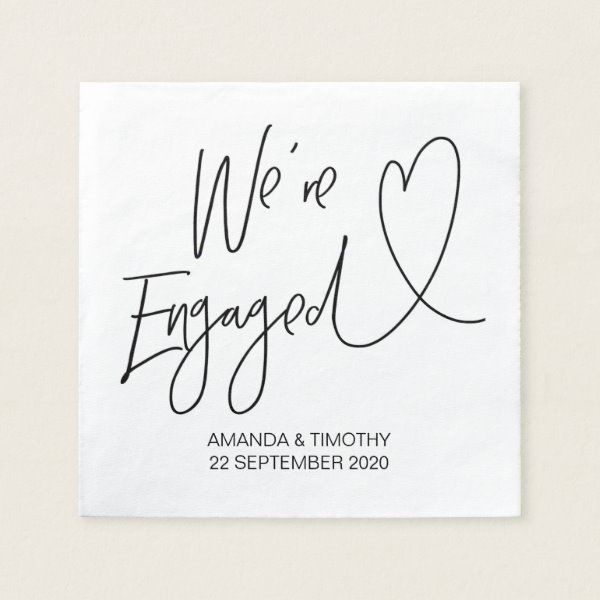 Engagement Party Decor Custom Engagement Napkins | Zazzle.com