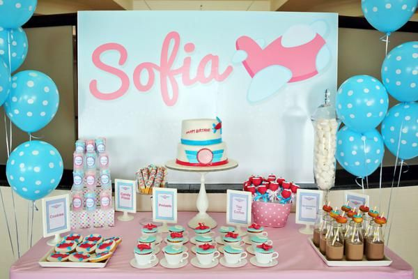 Girly Airline Themed 5th Birthday Party Theme Airplane Blue Pink
