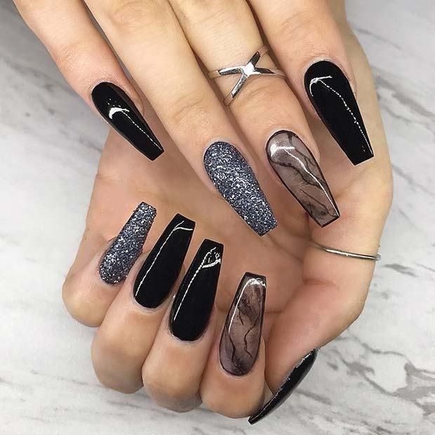 35 Fabulous Black Nail Designs For Ladies Black Nails Are Versatile Striking And Most Of All Fun Eve Edgy Nails Coffin Nails Designs Black Coffin Nails