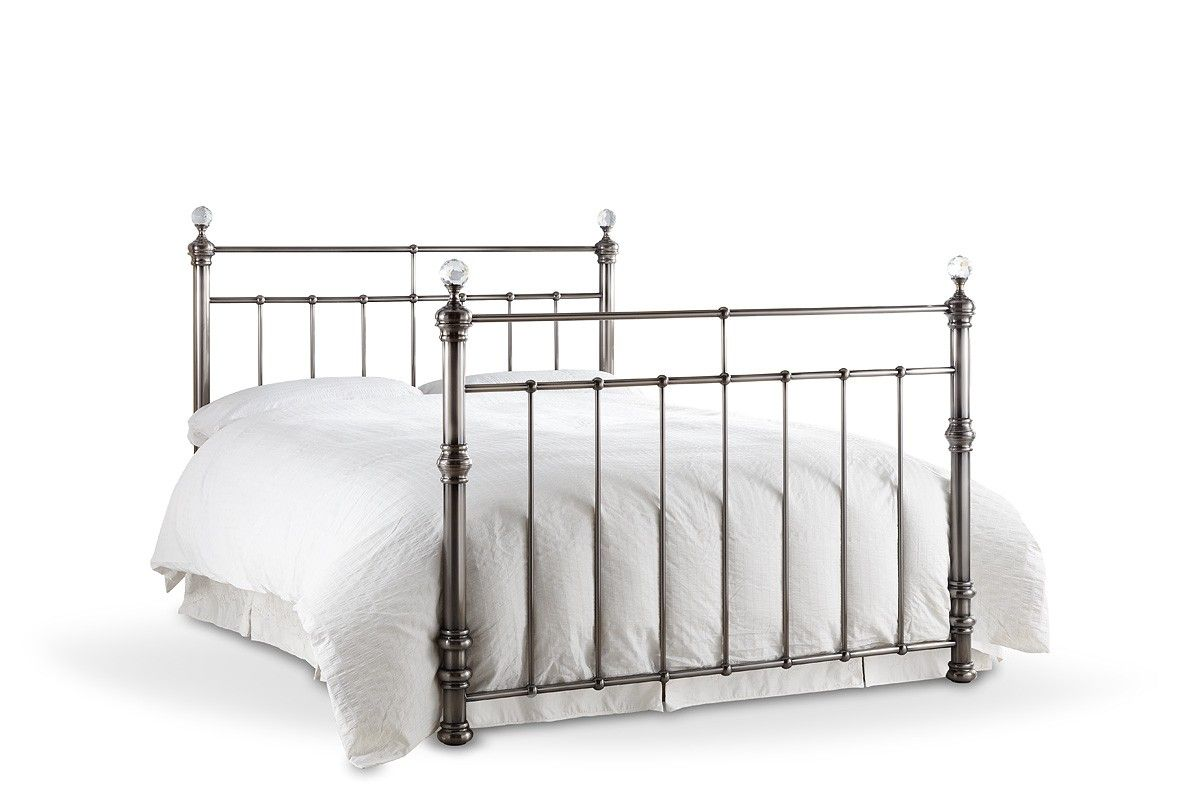 This Bonsoni Modern Style Double Georgina Bed Frame Brushed Nickel ...