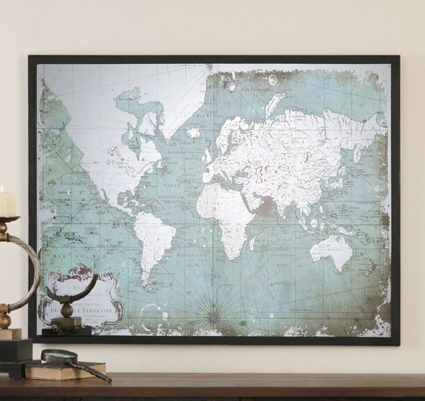 Uttermost mirrored world map with wall art 30400 uttermost uttermost mirrored world map with wall art 30400 gumiabroncs Images