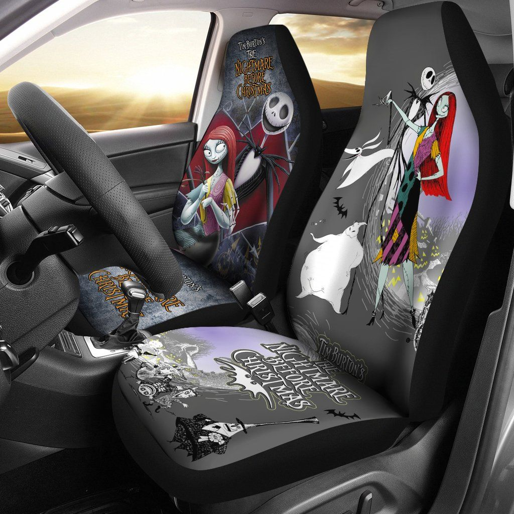 Awesome Tim Burtons The Nightmare Before Christmas Car Seat Covers Bralicious Painted Fabric Chair Ideas Braliciousco