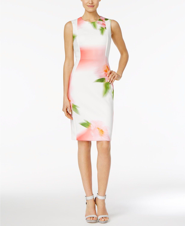 Calvin Klein Floral Print Sheath Dress Macys Com Dresses Printed Sheath Dresses Sheath Dress