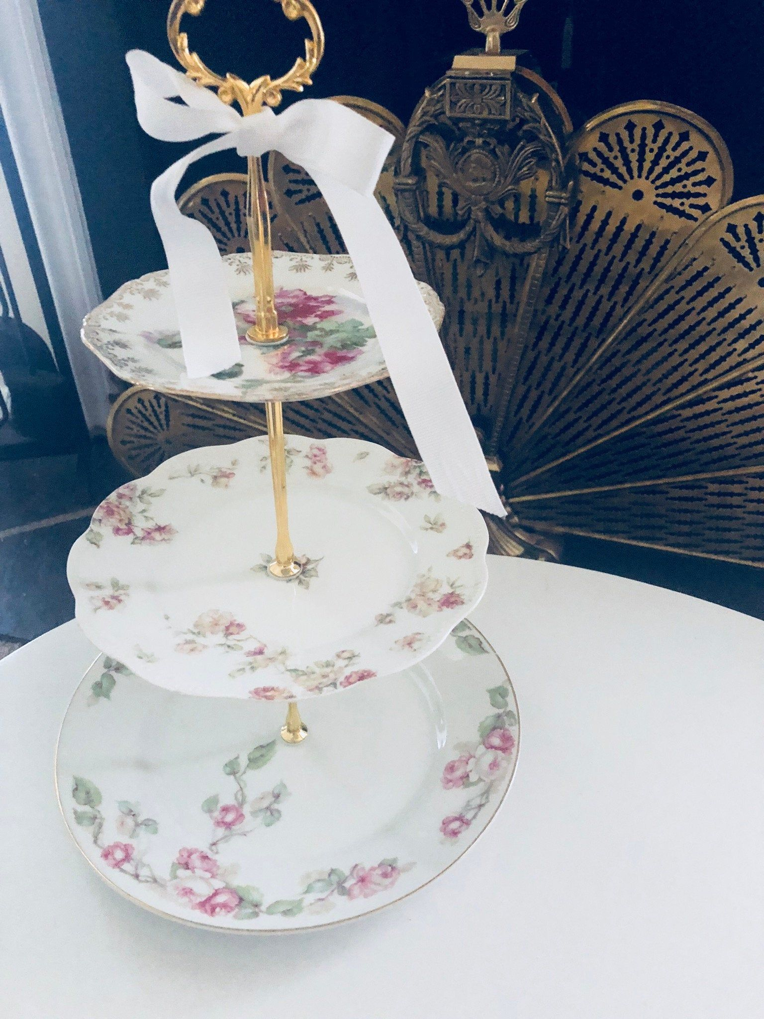 Antique limoges wedding cake stand 3 tier serving tray