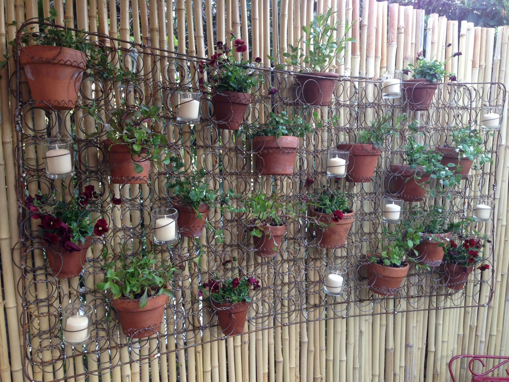 Springs From A Crib Mattress Turned Into A Vertical Garden Vertical Garden Spring Planter Garden